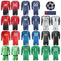 Wholesale uniform sets online - Goalkeeper Long Sleeve Manchester United Jersey Men Set David De Gea Sergio Romero Sergio Romero Football Shirt Kits Uniform