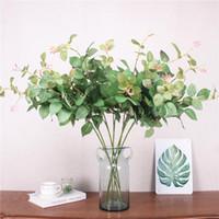 şakayak odası toptan satış-88 cm Yapay Yeşil Bitki 2 Şube Gül Yaprak DIY Düğün Otel Oturma Odası Noel Dekor Süsler İpek Gül Şakayık Yaprağı