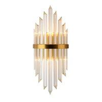 oturma odası duvar lambaları toptan satış-Lüks Altın Duvar Lambası Modern Kristal Duvar Aplik Aydınlatma Armatürü Oturma Odası Başucu Paslanmaz Çelik LED Duvar Işık