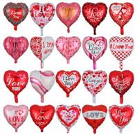 coração em forma de balões de folha venda por atacado-18 Inch Foil Balloon Heart-shaped do dia dos namorados Ballons Eu te amo balões festivos do partido Decoração Alumínio Film balão GGA3177-6