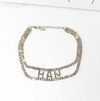 14k gold chokers großhandel-2019 neue designer voller strass brief halsketten für frauen mode halsketten schmuck geschenke freies shippng