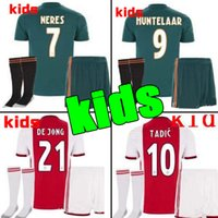 camisas de futebol personalizadas venda por atacado-2019 2020 Ajax FC Camisas De Futebol em casa kits de crianças 19/20 Personalizado # 7 NERES # 10 TADIC # 4 DE LIGT # 22 ZIYECH Camisa de Futebol