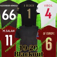 ingrosso jersey superiore-liverpool 2019 2020 Blackout New Mohamed Salah maglia da calcio 6 trophy 2019 MANE Top VIRGIL maglia da calcio camiseta FIRMINO Kit ALISSON BECKER Nero maglia