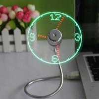 notizbuch usb schreibtisch großhandel-Einstellbare Mini-USB-Lüfter tragbare Office Desk Gadgets Flexible Schwanenhals-Zeit LED Clock Fan Cool Für Laptop PC Notebook Echtzeit-Anzeige