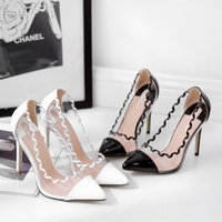 Wholesale sexy romantic wedding shoes resale online - Alluring2019 In Slender Years Romantic Wave Sexy Transparent Spelling Color Cool Fine High With Single Shoe