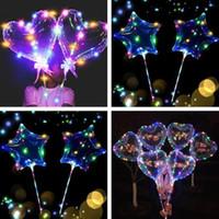 coração em forma de luzes da noite venda por atacado-Forma do coração do amor luzes led balões noite iluminação bobo ball decoração de casamento de natal forma de estrela luminosa piscando balões com vara