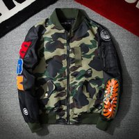 dünne armeejacke großhandel-Harajuku MA1 Air Force Pilot Jacke Männer Herbst Dünne Baseballjacke Camouflage Stickerei Mode Streetwear Mäntel Armee Oberbekleidung