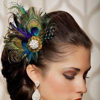 tavuskuşu şapkaları toptan satış-2020 Yeni Ucuz Peacock Feather Gelin Kafa Çiçek Düğün Headdress Örgü Ipliği Gelin Şapka Düğün Aksesuarları