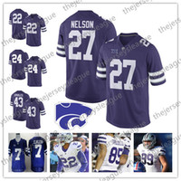 aed0dfe0c Kansas State Wildcats  27 Jordy Nelson 43 Darren Sproles 16 Tyler Lockett  48 Glenn Gronkowski Purple White NCAA College Football Jerseys