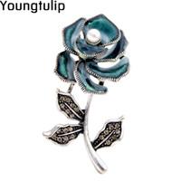 ingrosso accessori di tulipano-Young Tulip Romantic Pearl Rose Spilla da donna Pin Strass Shiny Zircon Accessori per colletto