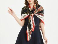 Wholesale stylish new scarf resale online - 2019 New Brand Designer cm Large Size Imitation Silk Scarfs and Shawls Wraps Hijabs Pashmina Euro Stylish Print Designer Scarves Beac