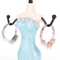 дисплей ожерелья серьги манекена оптовых-5 Цветов Творческий Манекен Платье Серьги Ожерелье Браслет Дисплей Ювелирных Изделий Показать Стенд Держатель