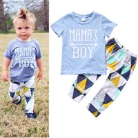 Wholesale baby boys blue short sleeve MAMAS BOY letter arrow top geometry pants outfit summer clothing set