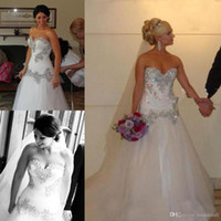 Wholesale cheap wedding dresses resale online - Vintage A Line Beaded Crystals Tulle Wedding Dresses Sweetheart Neck Lace up Back Plus Size Bridal Gowns Cheap Vestidos De Novia