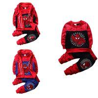abrigo de chaleco de algodón para niños al por mayor-New Boy Kids Conjuntos de ropa Spiderman 3 PCS Sets camiseta + pantalón + chaleco Primavera Otoño Moda Diseño100% algodón