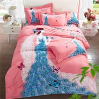 Wholesale black white burgundy bedding online - Bed Set Satin Cotton Duvet Cover Sets Bohemian butterfly bird floral peacock Print Bedsheet Pillowcase Adult Double Bed King Size