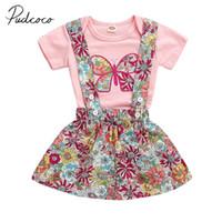 kelebek çiçekli kız toptan satış-2019 Marka Yeni Yenidoğan Bebek Kız Bebek Giysileri Kısa Kollu Kelebek Romper Renkli Çiçek Askı Etek 2 Adet Yaz Kıyafet