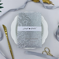 Wholesale folded silver wedding invitation card for sale - Group buy Luxury Glitter Silver Tri fold Laser Cut Wedding Invitations With RSVP Card Belly Band Elegant Laser Invites For Weddings Event