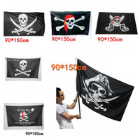 ingrosso bandiere della casa di halloween-90x150 cm Grande Nero Jolly Roger Bandiere Pirate Halloween Puntelli Skull Crossbones Spade Bandiere Nere Haunted House Bar Decor AAA729
