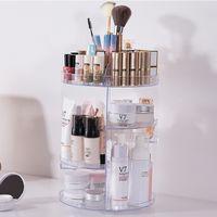 maquillaje cosmético joyero organizador al por mayor-Caja giratoria de 360 grados de moda Organizador de maquillaje Caja de acrílico Organizador de joyería Caja de almacenamiento de cosméticos de maquillaje