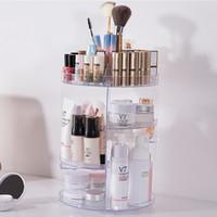 acryl make-up-organisatoren großhandel-Mode 360-grad-drehende Makeup Organizer Box Acryl Schmuck Organizer Fall Schmuck Make-Up Kosmetik Aufbewahrungsbox