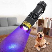 akrep pil toptan satış-SK68uv LED UV El Feneri Mor Menekşe 365nm 395nm Işık Ayarlanabilir odak Akrep para Algılama Lambası Kullanın Bir A / 14500 Pil