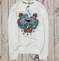 chandails polaires chauds achat en gros de-Vente chaude livraison gratuite 2019 hiver femmes mode Hommes Femmes Brodé Tigre Pull marque femmes hommes À Capuche Sweats KENZ Polaire
