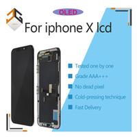 ingrosso il iphone sostituisce lo schermo dell'affissione a cristalli liquidi-Display LCD OLED 5pcs OEM per l'Assemblea del convertitore iPhone X digitalizzatore schermo LCD No Dead Pixel tocco sostituire le parti DHL libero
