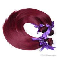un pelo lacio remy al por mayor-Indian Straight Wave Bundle Double Wefts 50g pc 99J 6pcs un lote ruso humano Remy Extensiones de cabello