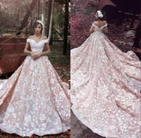 robes de mariée cathédrale rose achat en gros de-2019 robes de mariée rose blush magnifique 3D Flora Appliques pure dos hors épaule luxe Romance cathédrale train robes de mariée sur mesure