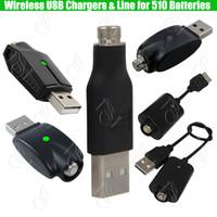 ingrosso batteria a sfioramento ego-Caricabatterie USB senza fili 510 ego per 510 Preriscaldamento filo BUD touch Batteria a olio denso IC protezione eCigs Mod Batterie Caricabatterie adattatore
