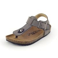 sandalias de tiras chicas al por mayor-Zapatos para niños Sandalias de verano para niños y niñas Zapatos para niños pequeños PU de cuero Diapositivas casuales para niños
