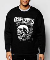 ingrosso punk rock felpe con cappuccio-Mens Sweatshirts Punk Rock The Exploited New Autunno Inverno Moda Felpe con cappuccio Hip Hop Tuta Abbigliamento divertente