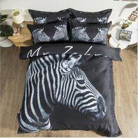 juegos de cama de doble tamaño caballo al por mayor-100% algodón tigre, caballo, cebra tamaño del lecho Twin Queen 3d juego de cama Funda Nórdica Fitted / set hoja de cama