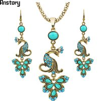 Wholesale mix silver sets jewerly resale online - necklace crystal Vintage Jewerly set Tibet Alloy Antique Sliver Plated Fantastic Crystal Peacock Pendant Dangle Earrings Necklace TS262