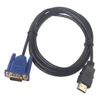 ingrosso impostazione av-Cavo HDMI per convertitore VGA adattatore maschio 1,8 M = 6 piedi D-SUB 15 pin Cavo adattatore video AV per cavo set-top HDTV