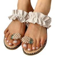 Wholesale sandals bohemians summer resale online - Jaycosin Slippers Shoes Woman Girls Pearl Flat Bohemian Style Casual Sandals Slippers Beach Shoes Rhinestone Beach