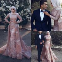 boncuklu mütevazı müslüman gelinlik toptan satış-Vintage Allık Pembe Müslüman Gelinlik Uzun Kollu 2019 Modest Lüks Kristal Boncuklu Yüksek Boyun üst etek Düğün Gelin Modelleri