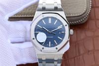 pulseiras de safira azuis venda por atacado-Relógio de luxo JF modelos mais recentes Mens Automatic Cal.3120 Relógios Homens Pulseira De Aço Inoxidável Dial Azul 15400 Sapphire Royal Oaks relógios de pulso