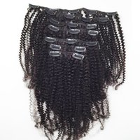 brasileña virgen afro rizado al por mayor-7 unids / set Rizado Rizado Clip En Extensiones de Cabello Humano 120G Sin Procesar Virgin Hair Brasileño Color Natural Afro Kinky Rizado Pinzas de Pelo Ins