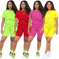 survêtement vert jaune achat en gros de-nouvelles femmes mis tenues décontractées en deux pièces tees solides à manches courtes et un pantalon longueur au genou survêtement jaune vert rouge