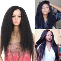 perruque droite en dentelle crépue achat en gros de-Yaki longue kinky droite perruques de cheveux synthétiques perruque avant de dentelle pour les femmes Kinky droit naturel Noir Afro Kinky Perruques
