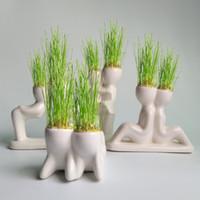 saç otu sevimli toptan satış-Saksı Bitkileri Saksı Seramik Mini Sevimli Roman Bonsai Kafa Çim Doll Saç Beyaz Tembel Adam Güveniyor Bitki Bahçe DIY