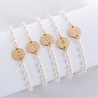 Wholesale alphabet pendant for bracelet for sale - Group buy beaded bracelets for women creative A Z English Alphabet Initial bracelet charm Letter bracelet Letter Pendant Bracelet Bangle Ankles DHL