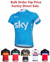 Wholesale sky cycling jersey xl online - Sky Cycling Jersey Top T shirt Men s Unisex Short Sleeves Bike Clothing Suits Quick Dry Front Zipper Wearable Breathable