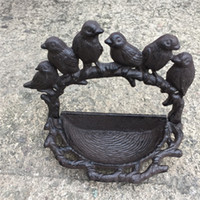 mangeoires d'oiseaux en plein air  achat en gros de-2 pièces en fonte Jardin Bird Bath Feeder Shabby Chic Vintage Outdoor stand Bowl Birdbath Bird Bath Antique mis sur Patio Cour Brown