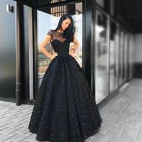 abendkleider perlen großhandel-2019 New Black Abendkleider Sheer Sweetheart Neck Short Sleeves Tüll bodenlangen Perlen A Line Vestido Party Prom Dresses