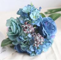 ramalhete livre do casamento do transporte venda por atacado-Blue Rose Artificial Bouquet criativo do casamento Detalhes no diâmetro de aproximadamente 21cm incluem Rose Hydrangea e bagas frete grátis