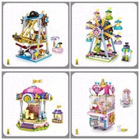 Wholesale toy machine wheels for sale - Group buy Buliding Blocks Claw Game Doll Machine Funfair Pirate Ship Ferris Wheel Merry Go Round Children s Fuuny Hing Quality Toys With Color Box