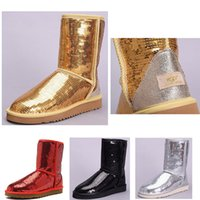 Wholesale nice shoe boot for sale - Group buy 2019 nice WGG Women s Australia Women girl tall boots Snow Winter boots red yellow silver Glossy boots outdoor shoes
